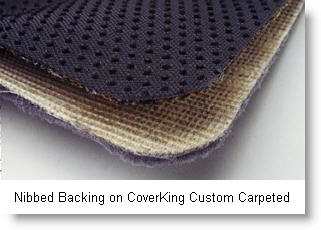 A CoverKing Custom Carpeted car floor mat with nibbed backing and color coordinated serged edging really dresses up your vehicle.