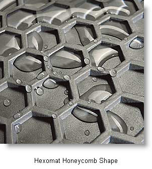 Hexomat Car Mat from IntroTech uses honeycomb shaped deep wells to trap lots of dirt, water, liquids, dust and gunk. This Intro-Tech Hexomat Car Mat really protects your vehicles floor!
