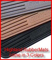Highland Universal Fit Rubber Mats come in three colors; grey, black and tan.