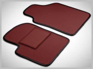 Inpelle Leather Car Mats. Burgundy leather, Deep Black trim, Burgundy heel pad. Exquisite, sophisticated leather car mats are waterproof and ruggedly resist dirt and gunk.