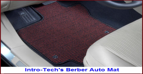 Intro-Tech's Berber Auto Mat is a berber style carpet with a rubber nib backing. It's very durable due to the tight weave of the 42 ounce polypropylene yarn it is made from.
