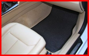 Natural Auto Products Black Sisal Mat in a BMW. Rubber nibbed backing, double stitched heel pads and edging in a quality product that enhances the look and feel of your vehicle.
