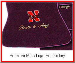 Custom Car Mats Personalized Premiere Logos include embroidered letters and some nice designs.