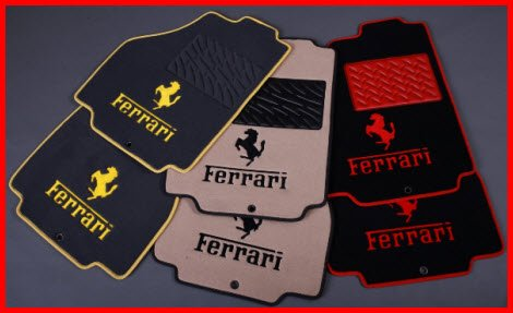 Texcarmats Luxury Line Car Mats with Ferrari Logo and Embroidery. Note the color matching heelpads, binding and stitching.