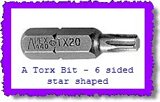 Torx bit you might need for a replacement car carpet kit.