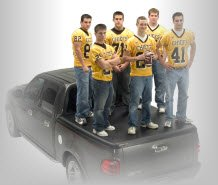 Undercover Tonneau Covers is demonstrating how six football players can stand on top of their tonno!!!