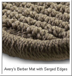 Avery Luxury Touring Berber Carpet Car Automobile Mats magnified view showing serged edges.